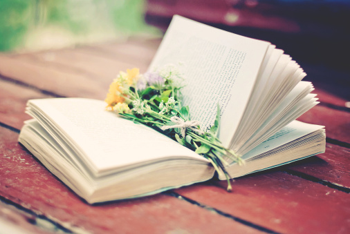 book and flowers..