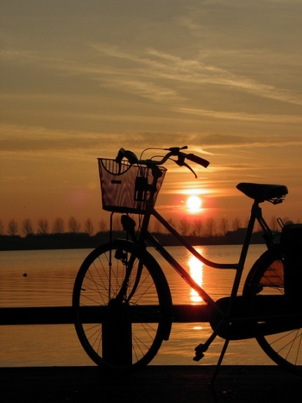 bike and sunset..