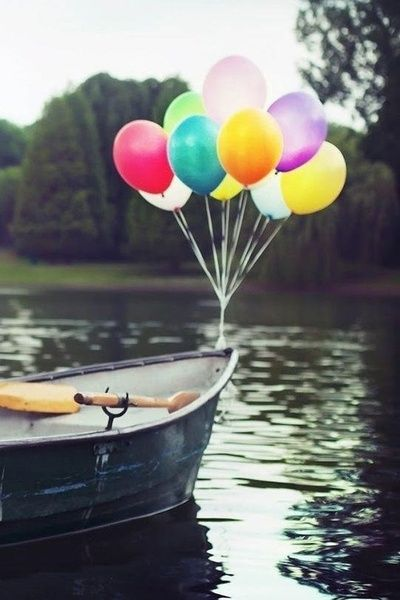 ballons and a boat..