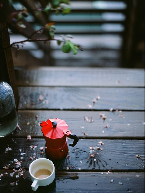 a cup of coffee and rain