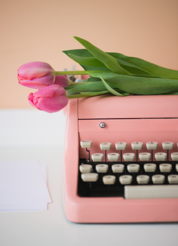 typewriter and tulips