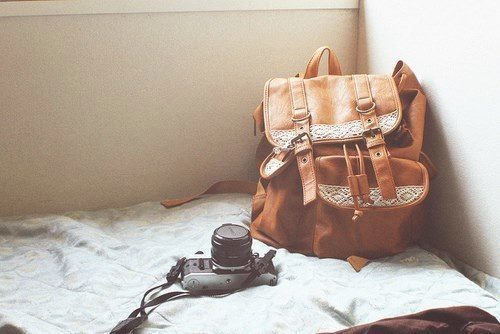 backpack and camera