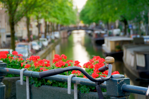 Bicycle on canal bridge