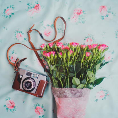 Flowers and a camera